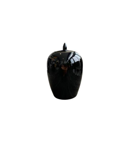 POT WITH LID BLACK SMALL