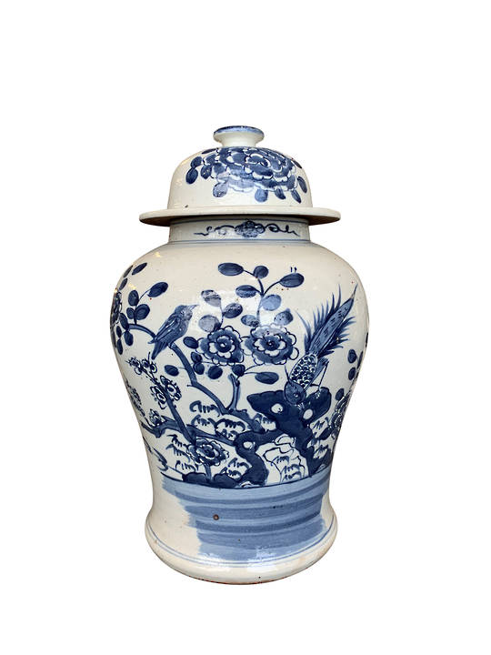 GINGER JAR BLUE & WHITE BIRDS WITH FLOWERS