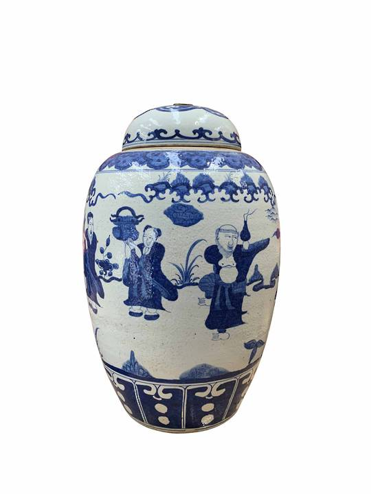 JAR ROUND LID WITH METAL RING BLUE & WHITE FIGURINE DANCING