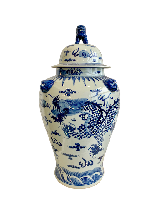 TEMPLE JAR,LARGE DRAGON, LION ON LID. BLUE/WHITE