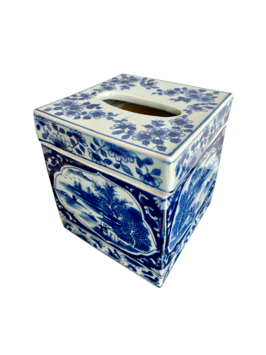 BLUE AND WHITE TISSUE BOX SQUARE