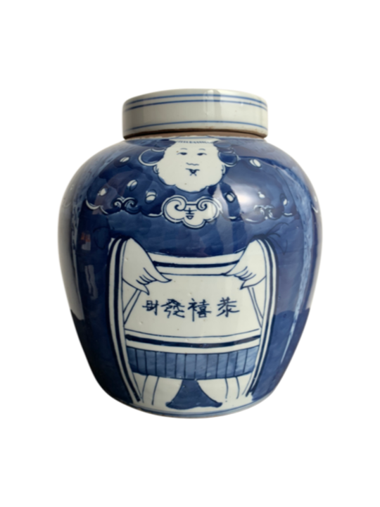 GINGER POT BLUE & WHITE PORTLY FIGURINE