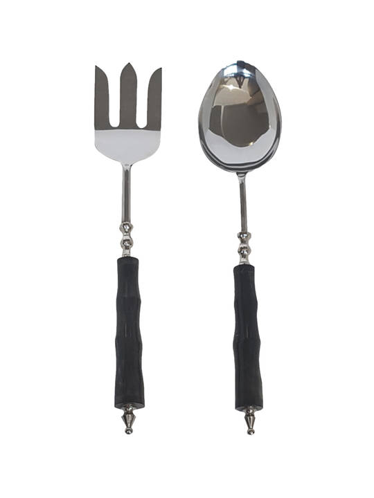 HORN AND STAINLESS STEEL SALAD SERVERS SET OF 2