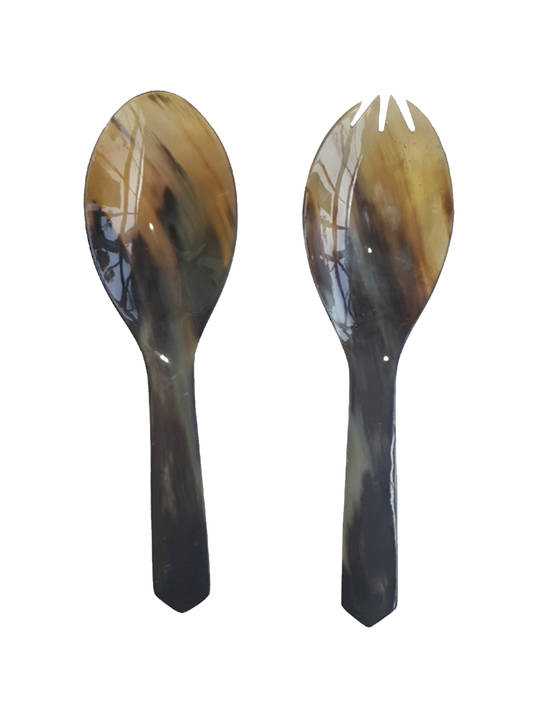 HORN SALAD SERVERS SET OF 2