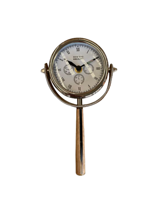 HAND HELD CLOCK WITH HAIR DETAIL