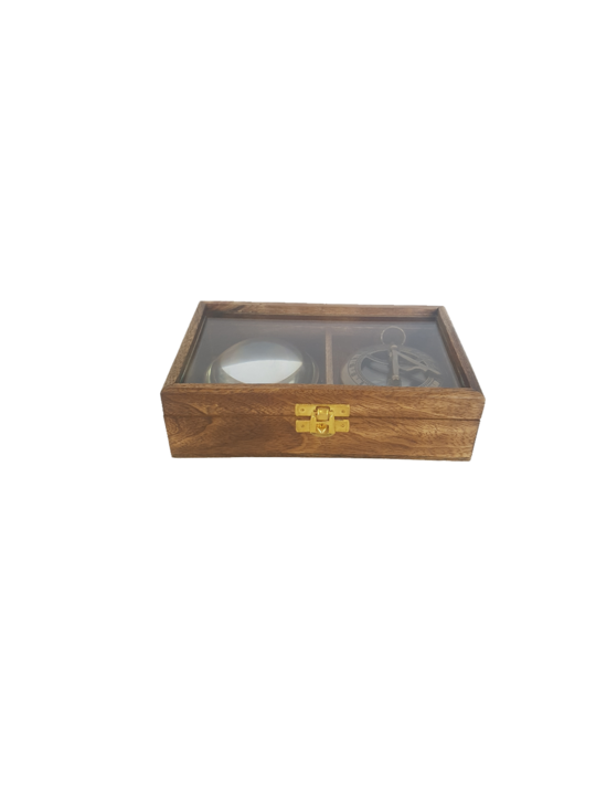 WOODEN GLASS TOP GIFT BOX SET/2 COMPASS, MAGNIFIER