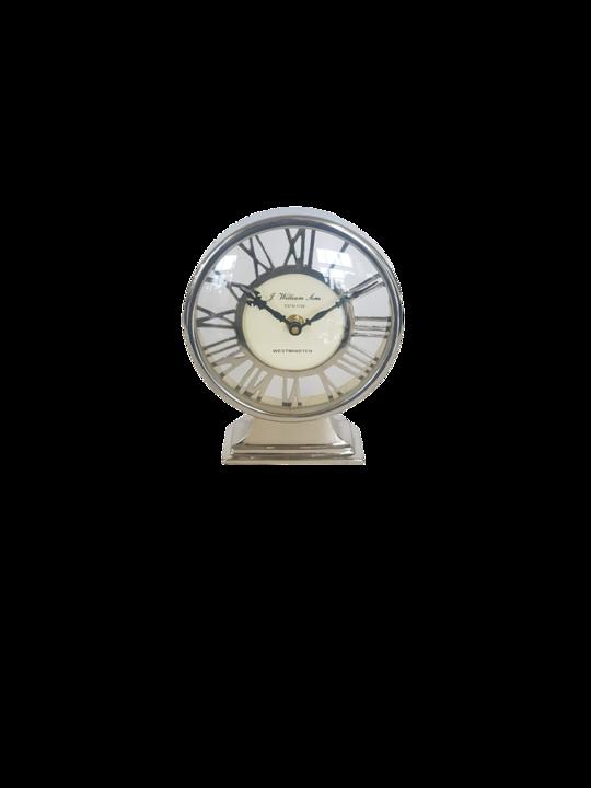 ALUM STEEL TABLE CLOCK ROMAN NUMERIALS