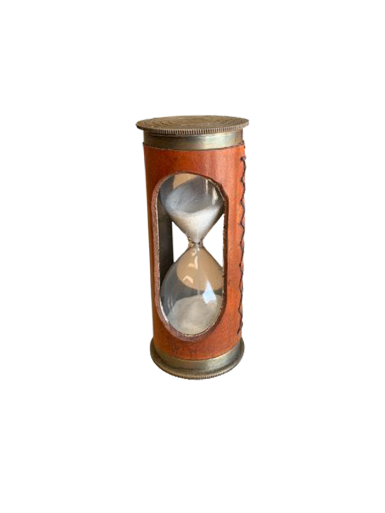 LEATHER COVERED SAND TIMER
