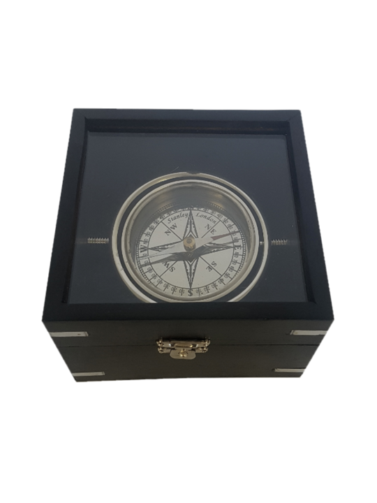 BRASS 11CM GIMBLE COMPASS IN GLASS TOP  WOODEN BOX BLK/ NKL