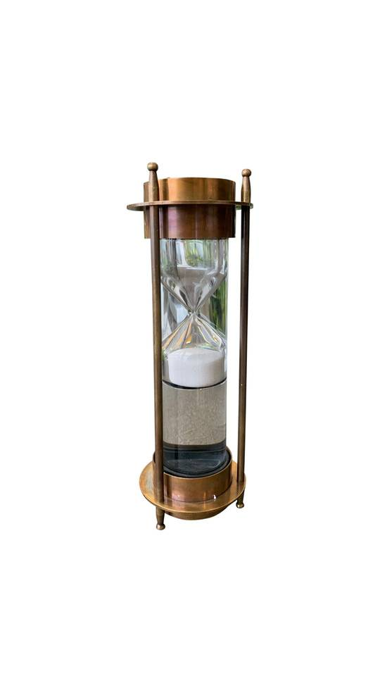 BRASS LIQUID SAND TIMER WITH COMPASS
