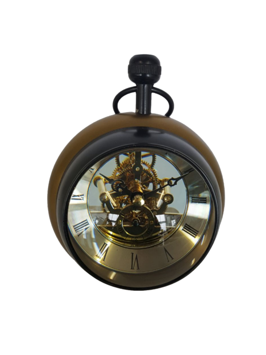 ALUMINIUM PAPER WEIGHT CLOCK WITH SEE THROUGH MECHANISIM BRASS