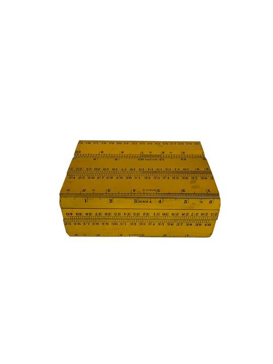 SCALE RULER DECORATIVE BOX YELLOW