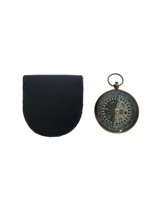 BRASS ROUND COMPASS IN LEATHER CASE BLK