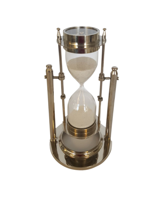 BRASS/NICKLE REVOLVING SAND TIMER W/COMPASS