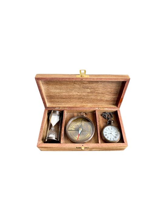 WOODEN GIFT BOX W/BRASS SET/3 CLOCK,COMPASS,SAND TIMER