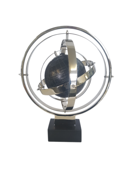 ALUM STEEL ARMILLARY ON MARBLE BASE