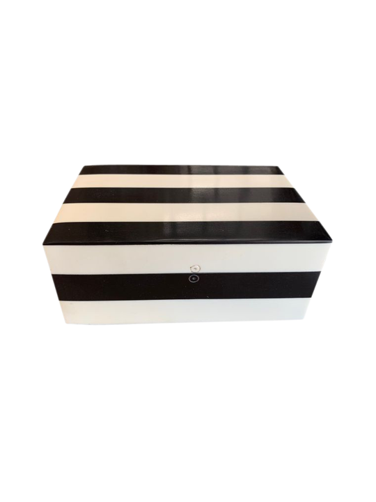 BLACK & WHITE STRIPE STORAGE BOX SML