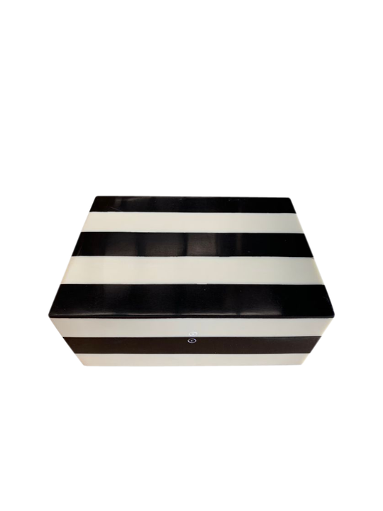 BLACK & WHITE STRIPE STORAGE BOX MED