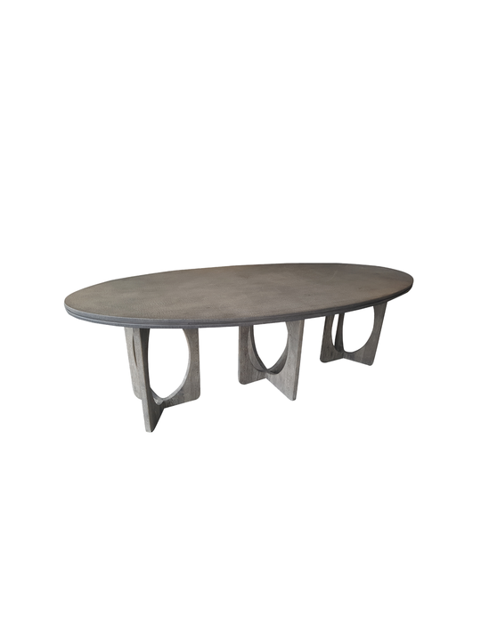 *OVAL CROCODILE TABLE CONCRETE TOP WITH  3 OAK CIRCLE LEGS