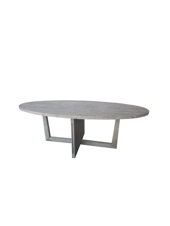 *OVAL GREY WASHED PINE DINING TABLE