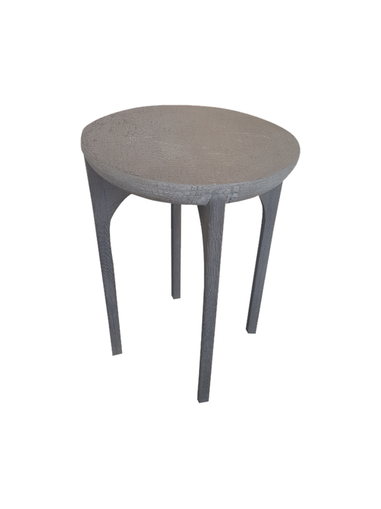 *SIDE TABLE WITH CROCODILE CONCRETE TOP OAK BASE