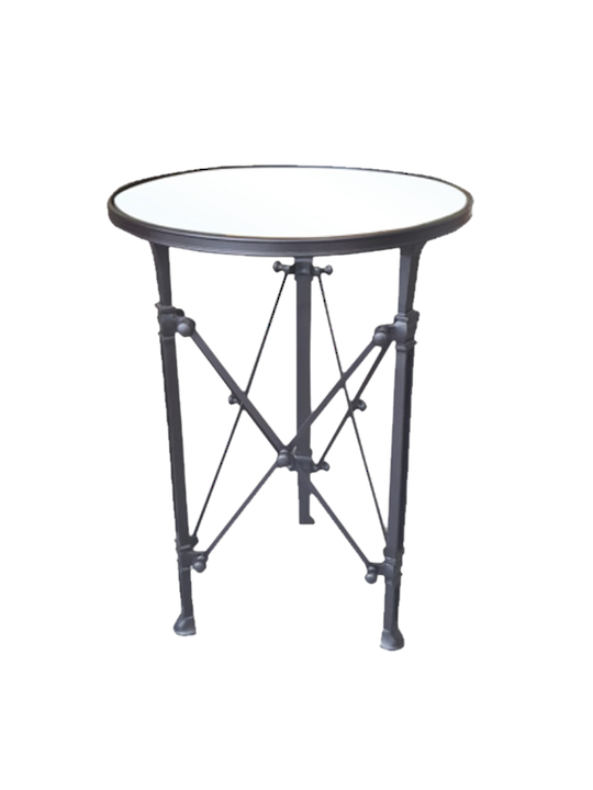 BLACK ANTIQUE ROUND SIDE TABLE