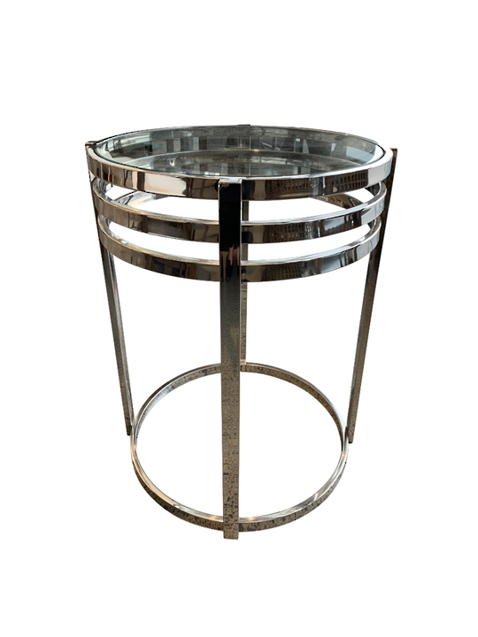 NICKLE PLATED ROUND SIDE TABLE