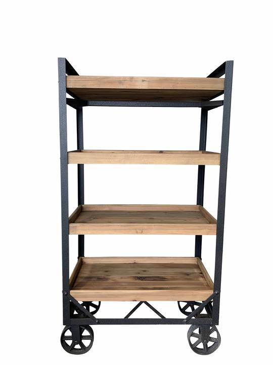 RECYCLED PINE MULTI SHELF UNIT ON WHEELS