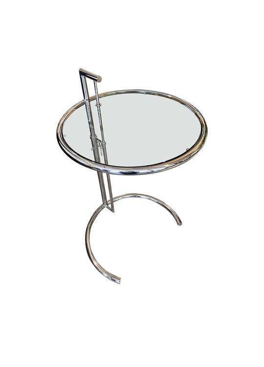 ADJUSTABLE ROUND SIDE TABLE SILVER
