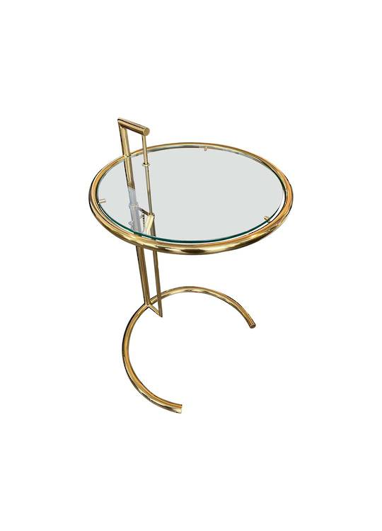 ADJUSTABLE ROUND SIDE TABLE GOLD
