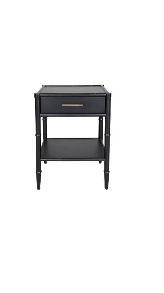 BAMBOO DETAIL 1 DRAWER BEDSIDE TABLE BLACK