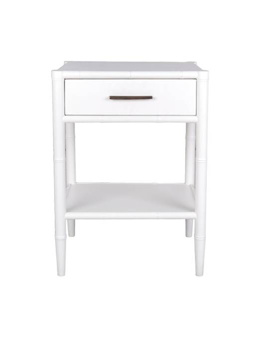 BAMBOO DETAIL 1 DRAWER BEDSIDE TABLE WHITE