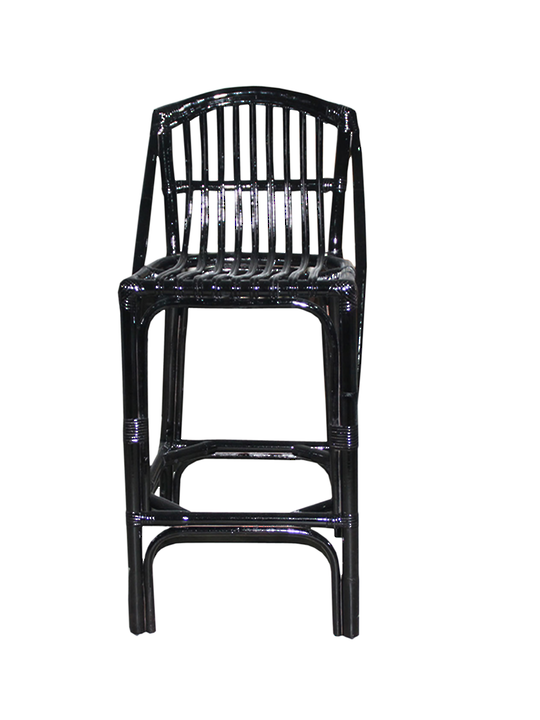 *ISLAND LIFE BAR STOOL  BLACK RATTAN