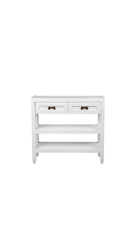 LEONARD ISLAND CONSOLE WITH BRASS HANDLES SHELVES, 2 DRAWERS