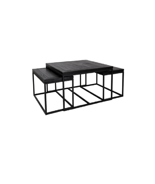 CHICAGO SET 3 NESTED COFFEE TABLE WITH METAL FRAME