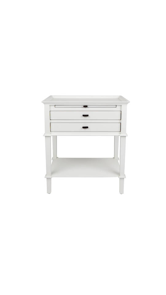 WELLESLEY SIDE TABLE WITH 2 DRAWERS WHITE