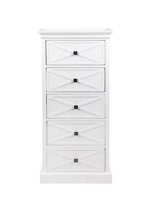 ISLAND LIFE TALL BOY 5 DRAWER WHITE