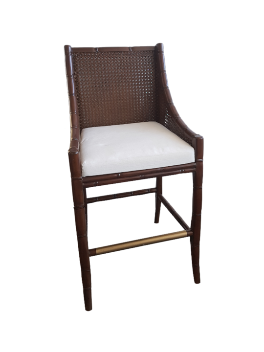 *PLANTATION BAR STOOL DOUBLE CANE MAHOGANY