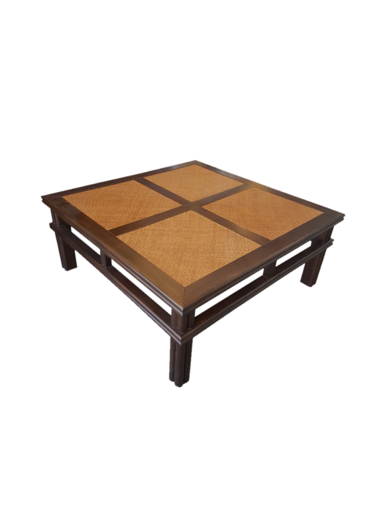 *PLANTATION COFFEE TABLE MAHOGANY CANE MATTING TOP