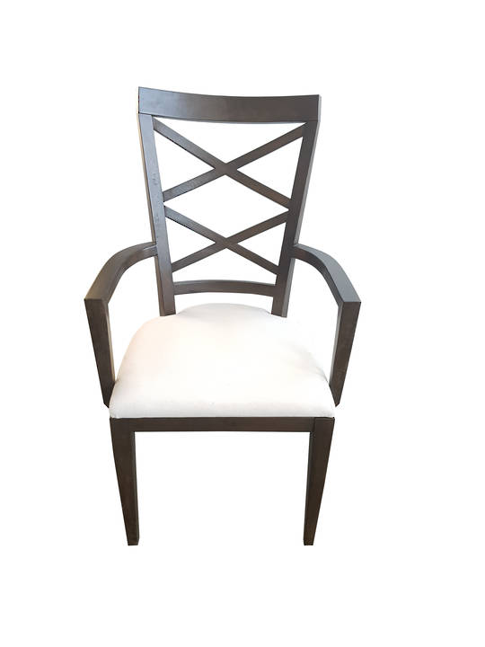 *DOUBLE CROSS BACK ARM CHAIR DARK