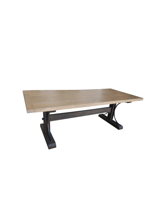 *DINING TABLE MANGO TOP WITH METAL TRIM ON LEGS