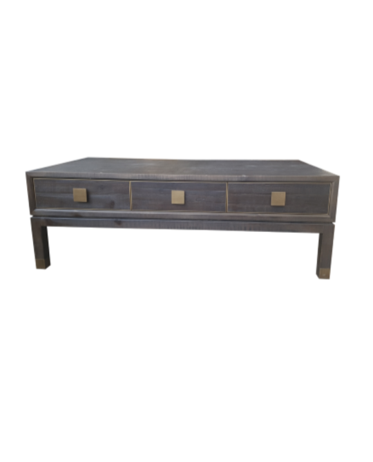 *OLD FIR & BRASS COFFEE TABLE