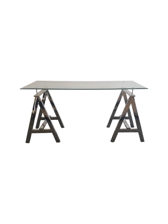 "*STEEL ""A"" TABLE WITH 8MM TOUGHENED GLASS SIZE 60X150 CMS BEVELLED EDGE"
