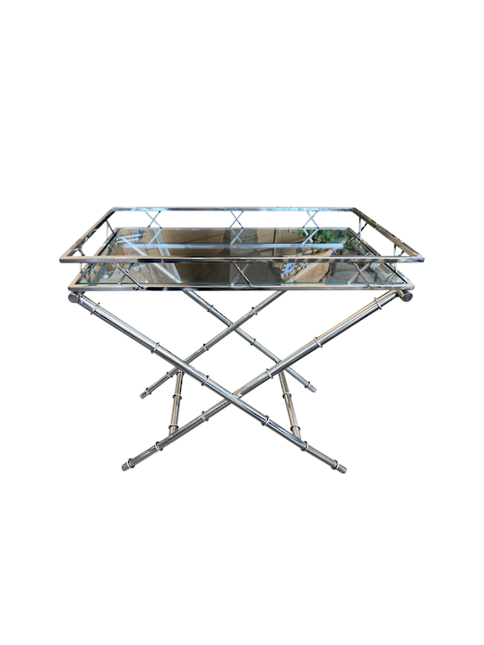 *S/ STEEL BAMBOO STYLE SIDE TABLE GLASS TOP CROSS LEGS