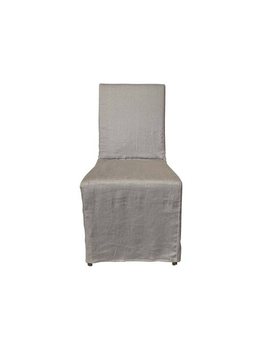 LINEN SLIP COVER DINING CHAIR GREY