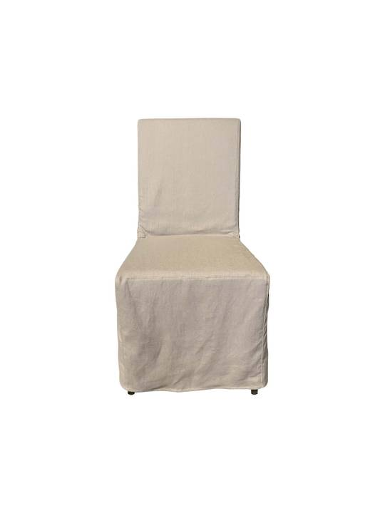 LINEN SLIP COVER DINING CHAIR SAND