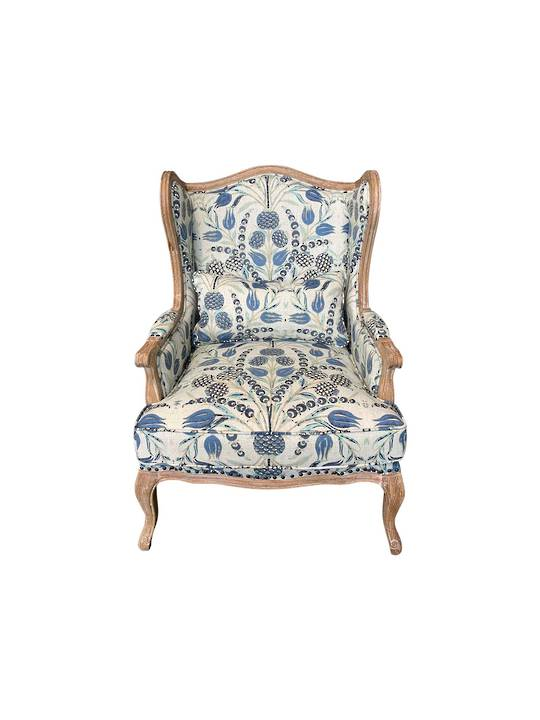 FLORAL DESIGN BLUE & NATURALS OCCASIONAL CHAIR