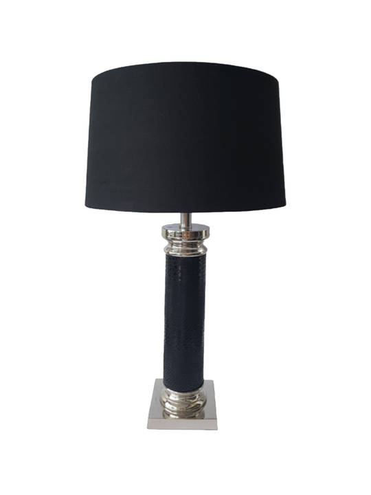 *NICKLE PLATED BLACK SNAKE SKIN TABLE LAMP W/SHADE SMALL