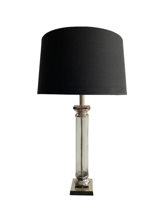 NICKLE PLATED COLUMN TABLE LAMP W/SHADE