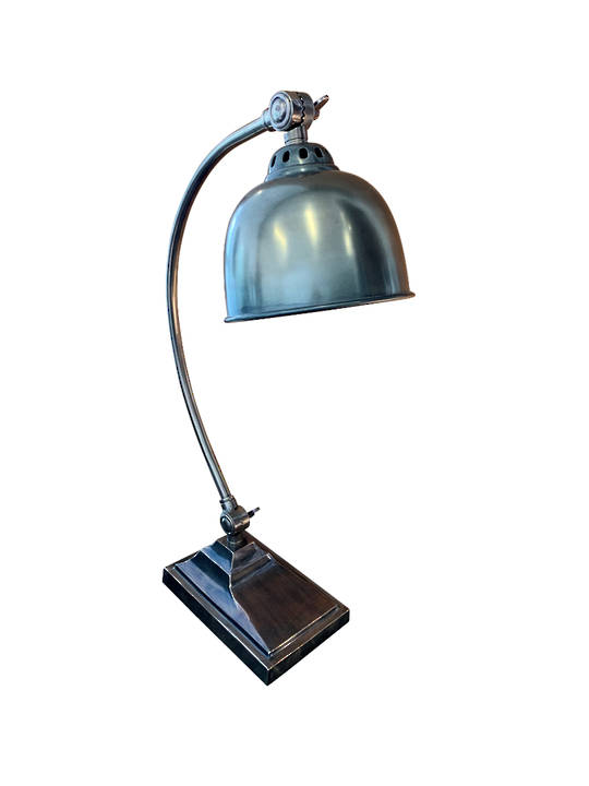 ALUMINIMUM/BRASS TABLE LAMP ANTIQUE SILVER FINISH